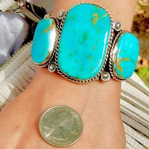 STERLING SILVER RARE GENUINE LARGE TURQUOISE CUFF!